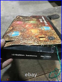 Vintage Pifco 20 Golden Lanterns Coloured Christmas Tree Lights Boxed No. 1256