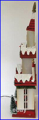 Vintage Santas Best 31 MUSICAL CHURCH Fiber Optic Wood CHRISTMAS EVE Holiday