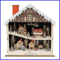 Vintage Wooden Christmas Village Snowy German Town Scene Lighted Holiday Decor
