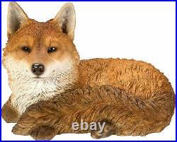 Vivid Arts Large Real Life Resting Fox Resin Home or Garden Decor XRL-RFOX-A