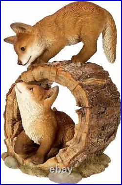 Vivid Arts Playful Fox Cubs Resin Home or Garden Decoration RL-PF07-B