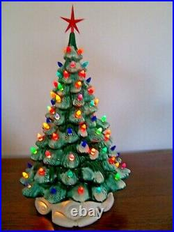 Vntg 18 Ceramic Holland Mold Christmas Tree 90+ lights Green wSnow Red Star