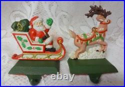 Vtg Midwest of Cannon Falls Santa Reindeer Mantel Hook Stocking Holder Hangers