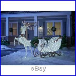 Warm White LED Jumping Deer 84 In. Life Size Outdoor Christmas Holiday Decoration