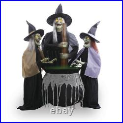 Wicked Witches with Cauldron Halloween Animated Decoration 5' Sounds LED Lights