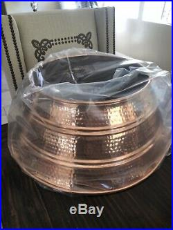 William Sonoma Hammered Solid Copper Christmas Tree Skirt Decor New In Box