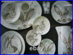 Williams Sonoma 20 pieces of Easter Damask Bunny Dishes (5 Sets of 4 pieces)