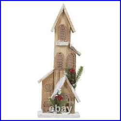 Wooden Lit Up Traditional European Winter Church Scene Ornament Decoration Gift