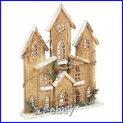 Wooden Lit Up Traditional European Winter House Scene Ornament Decoration Gift