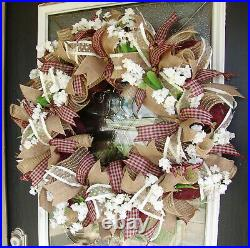 XL Country Rustic Farmhouse Deco Mesh Front Door Wreath Gingham Decor Decoration