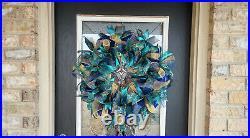 XL Elegant Emerald & Blue Peacock Christmas Holiday Deco Mesh Front Door Wreath