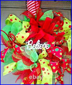 X-Large Christmas Holiday Elf Hat & Legs Deco Mesh BELIEVE Wreath Door Decor