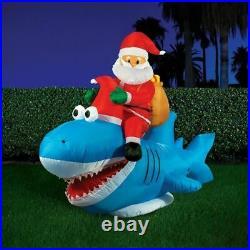 Xmas Christmas Lytworx 2.7m Inflatable Santa Riding Shark