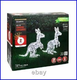 Xmas Christmas Lytworx 40cm LED Solar Standing Kangaroos 2 pack